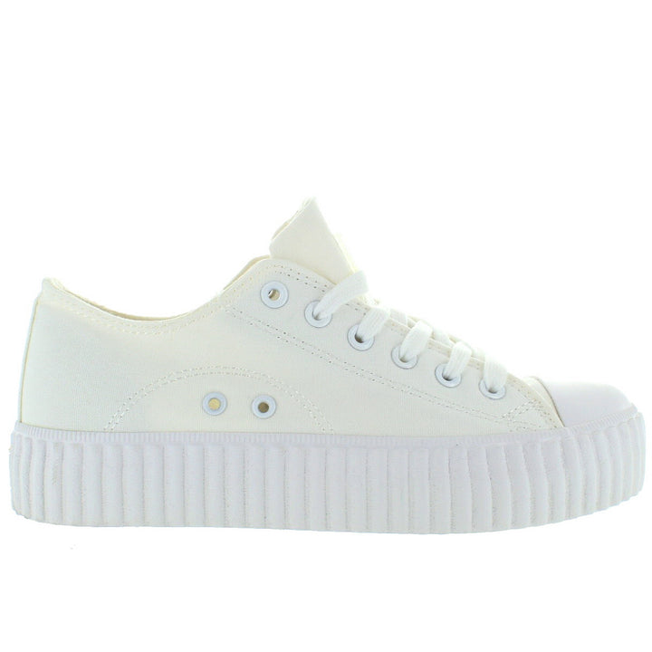 Coolway Britney - White Canvas Platform Sneaker