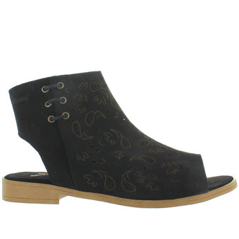 Coolway Topaz - Black Suede Cut-Out Sandal Bootie