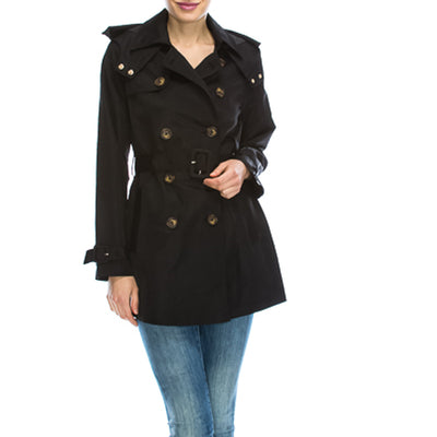Kixters - Black Double Breasted Mid Length Waterproof Trench Coat