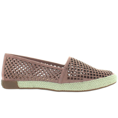 Adam Tucker Milo - Rose Suede Laser-Cut Espadrille Slip-On