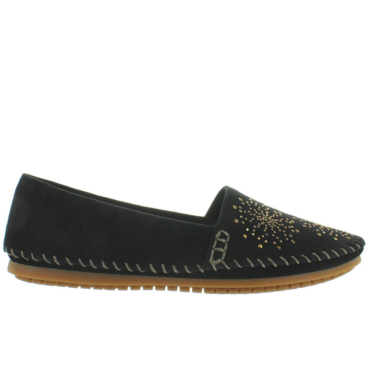 Adam Tucker Stardust - Black Suede Studded Slim Moc