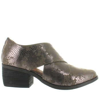 Adam Tucker Taze - Alpaca Metallic Snake Print Leather Back Zip Western Style Bootie