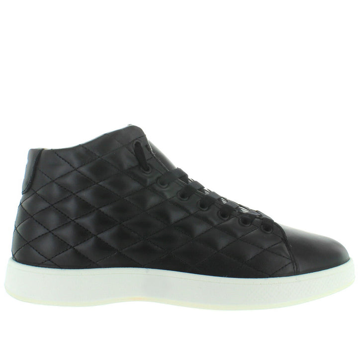 Aureus Lux - Cosmo Black Quilted Leather High-Top Sneaker