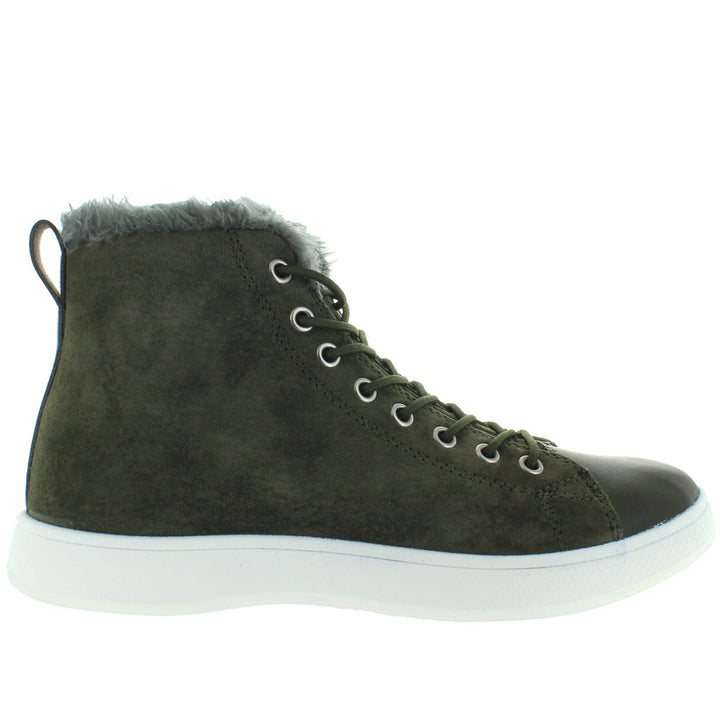 Aureus Robin - Loden Green Nubuck Fur-Lined Lace High-Top Sneaker