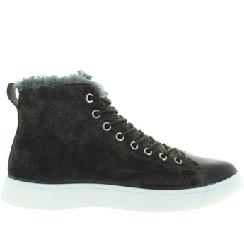 Aureus Robin - Charcoal Grey Nubuck Fur-Lined Lace High-Top Sneaker