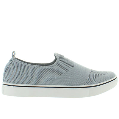 B.Mev Leviah - Light Grey Silver Elasticized Nylon Slip-On Sneaker
