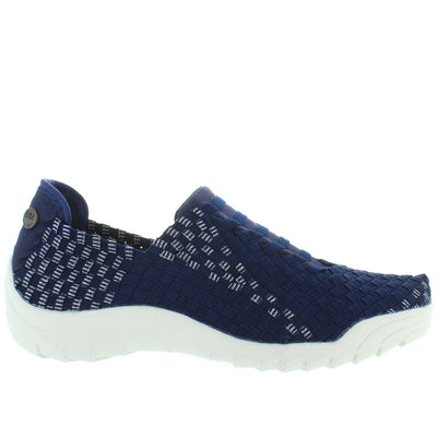 B. Mev Rigged Vivaldi - Navy Lurex Elastic Woven Slip-On Wedge Sneaker