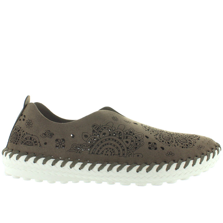 B. Mev TW09 - Taupe Suede Laser-Cut Moc Wedge Sneaker