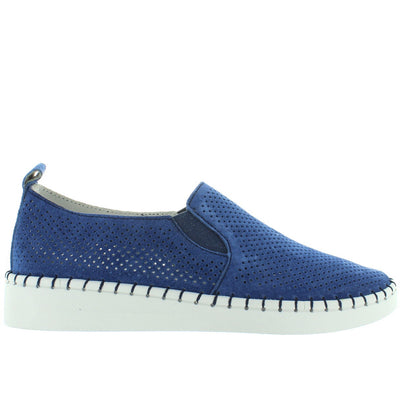 B. Mev TW98 - Blue Perforated Suede Slip-On Wedge Sneaker