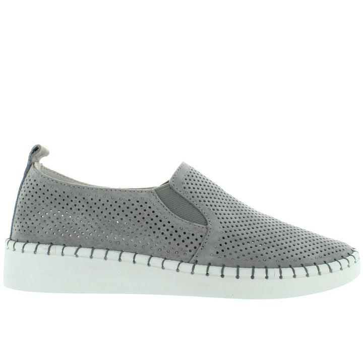 B. Mev TW98 - Grey Perforated Suede Slip-On Wedge Sneaker