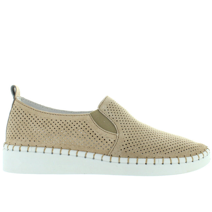 B. Mev TW98 - Nude Perforated Suede Slip-On Wedge Sneaker