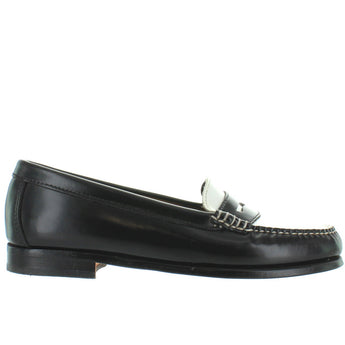 Bass Wayfarer - Black/White Leather Penny Loafer