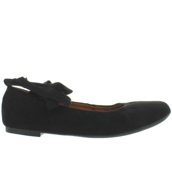 BC Have A Heart - Black Vegan Suede Fancy Wrap Elasticized Ballet Flat
