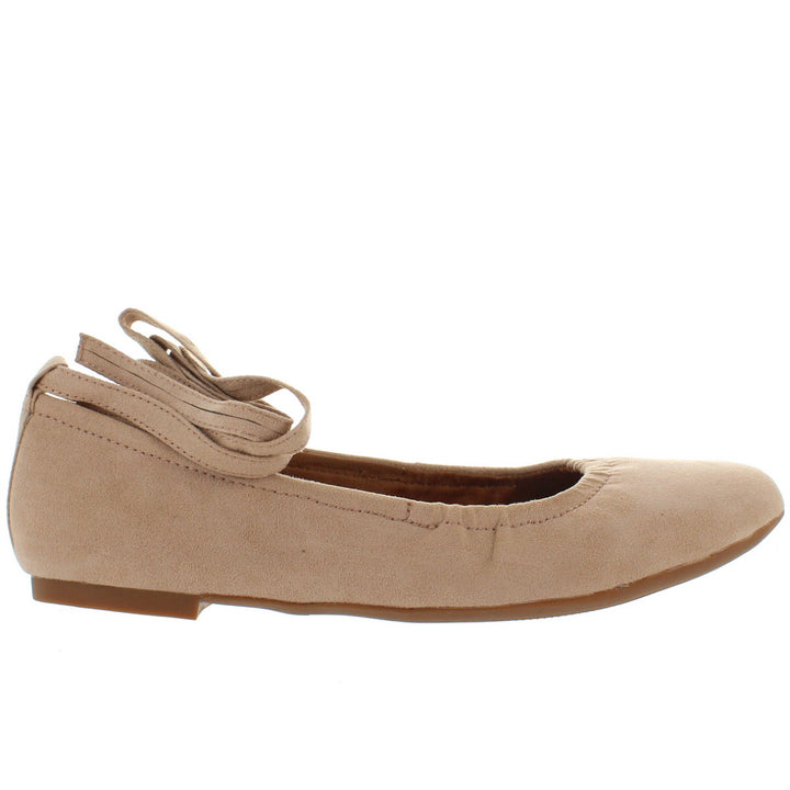 BC Have A Heart - Nude Vegan Suede Fancy Wrap Elasticized Ballet Flat