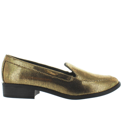 BC Layout - Gold Metallic Exotic Embossed Snake Loafer