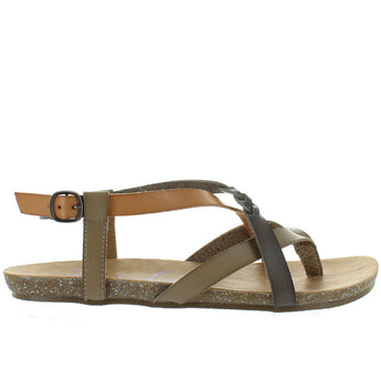 Blowfish Granola - Birch/Nude/Steel Grey Strappy Footbed Sandal