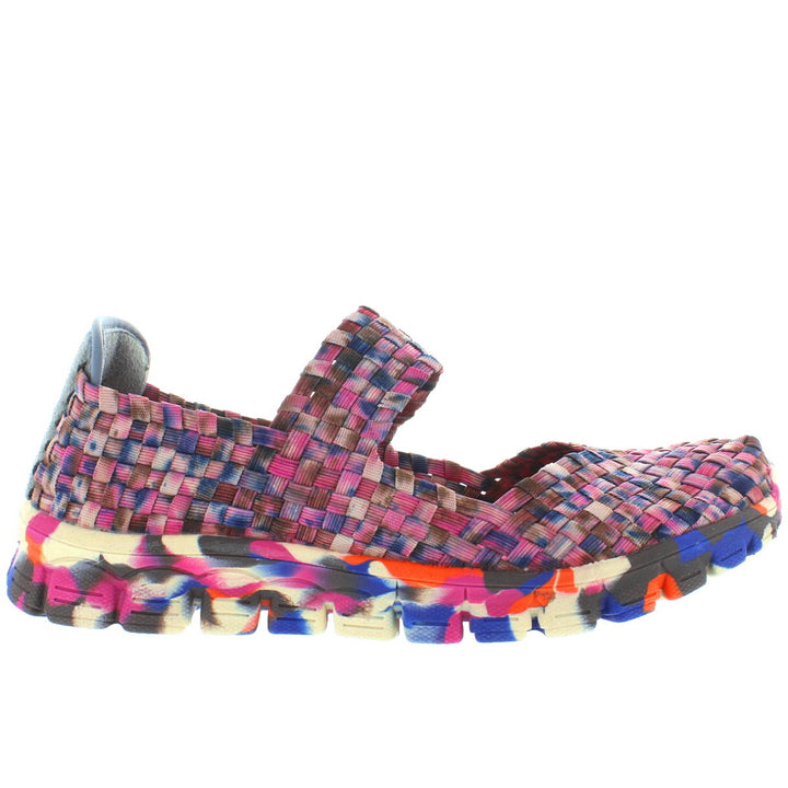 CC Resorts Funny - Pink Multi Elasticized Woven Mary-Jane Wedge Sneaker