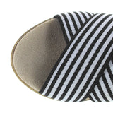 Charleston Shoe Cannon - Black/White Stripe Elasticized Crisscross Wedge Espadrille Sandal