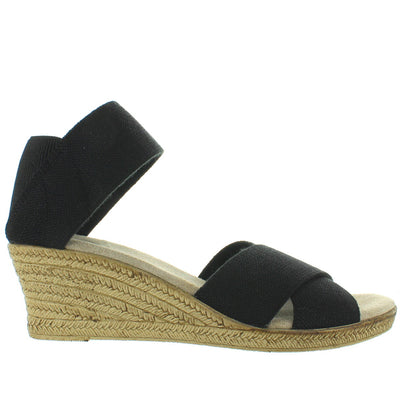 Charleston Shoe Cannon - Black Linen Elasticized Crisscross Wedge Espadrille Sandal