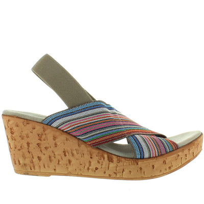 Charleston Shoe Med - Pink Multi-Stripe Elasticized Sling Platform/Wedge Rocker Sandal