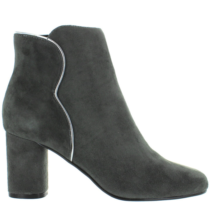 Chelsea Crew Black Label Tatiana - Grey Kid Suede Metallic Pipe Edge Bootie