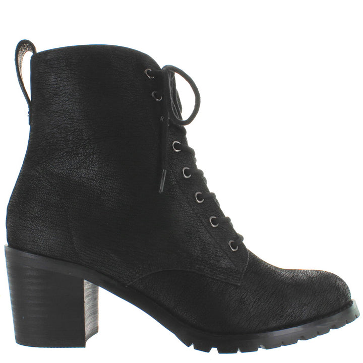 Chelsea Crew Tomboy 2 - Black Textured Leather Lug Combat Boot