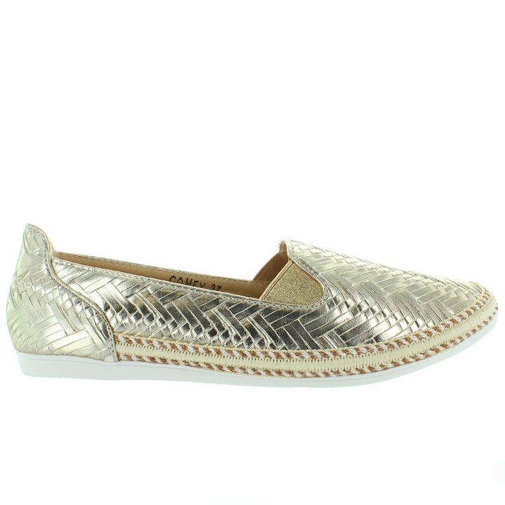 Chic Comfy - Gold Embossed Woven Slip-On