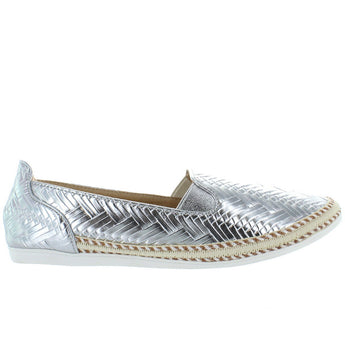 Chic Comfy - Silver Embossed Woven Slip-On