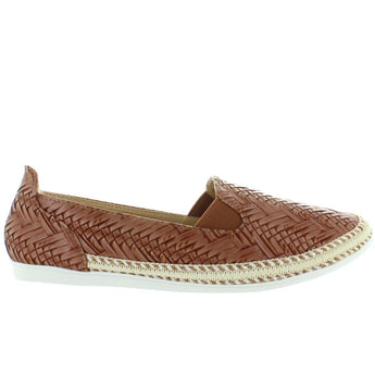 Chic Comfy - Tan Embossed Woven Slip-On