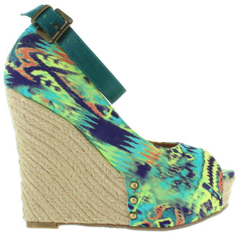 Chinese Laundry DJ Mix - Teal Multi-Tribal High Platform/Wedge Espadrille Sandal