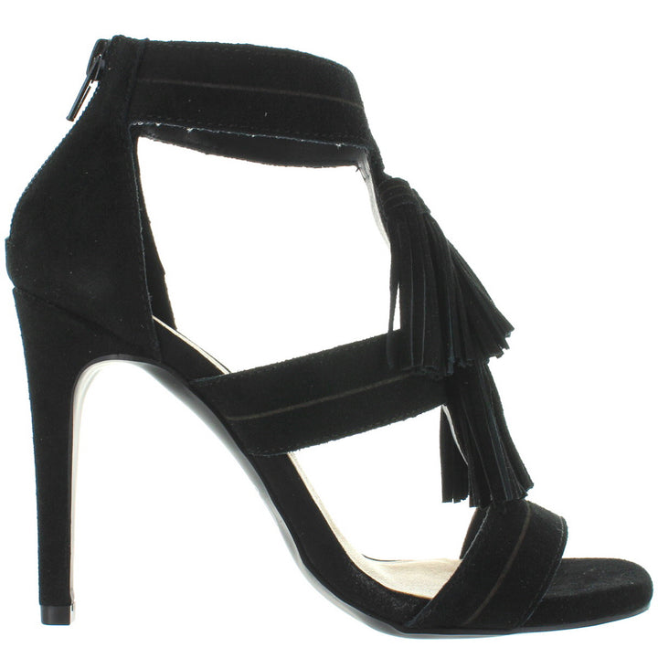 Chinese Laundry Speak Easy - Black Suede Tassel Stiletto Sandal