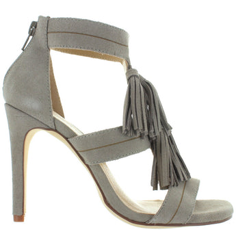 Chinese Laundry Speak Easy - Cool Taupe Suede Tassel Stiletto Sandal