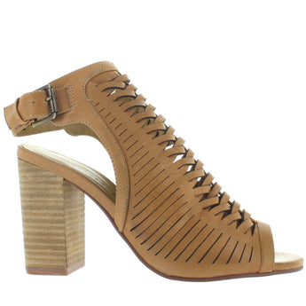 Chinese Laundry Torey - Natural Leather Huarache-Style High-Heel Sandal