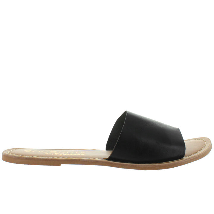 Coconuts Cabana - Black Leather Flat Slide Sandal