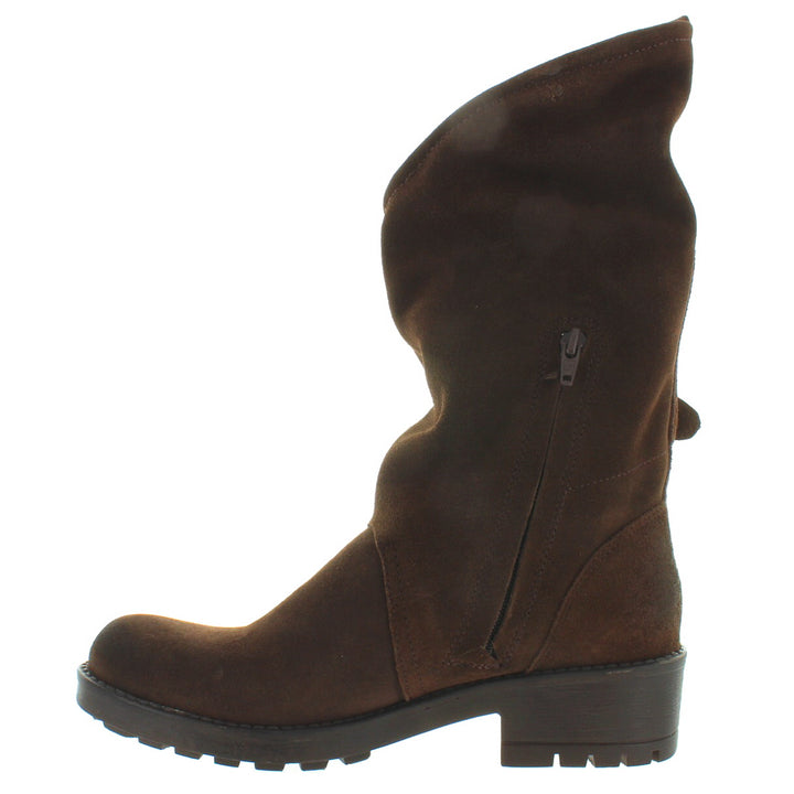 fb9357f51e73 Coolway Alida - Brown Suede Slouchy Dual Buckle Boot – Kixters.com