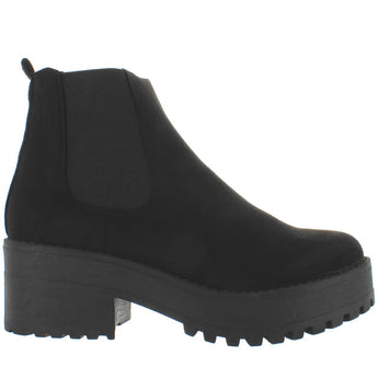 Coolway Basha - Black Suede Pull-On Chunky Platform Bootie