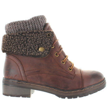 Coolway Bring - Brown Sweater-Top Snap Cuff Combat Bootie