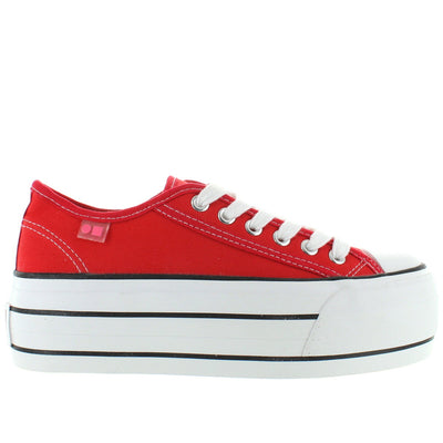 Coolway Grease - Red High Platform Lace Sneaker