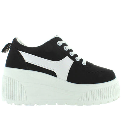 Coolway Luan - Black Chunky High Platform/Wedge Lace Sneaker
