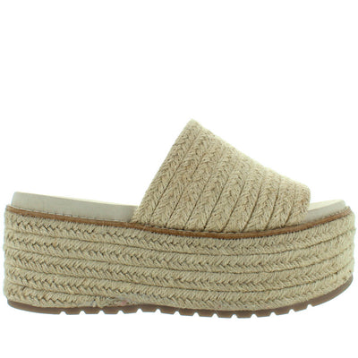 Coolway Newbor - Natural Jute High Chunky Platform/Wedge Espadrille Slide Sandal