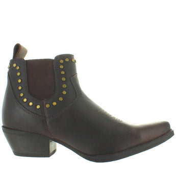 Dingo Felicity - Dark Brown Leather Studded Snip Toe Western Bootie