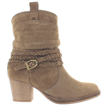 Dingo Twisted Sister - Stone Suede Braided Buckle Strap Short Cowboy Boot