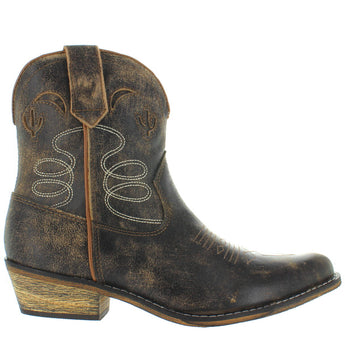 Dingo Cactus Moon - Taupe/Dark Brown Distressed Leather Short Cowboy Boot