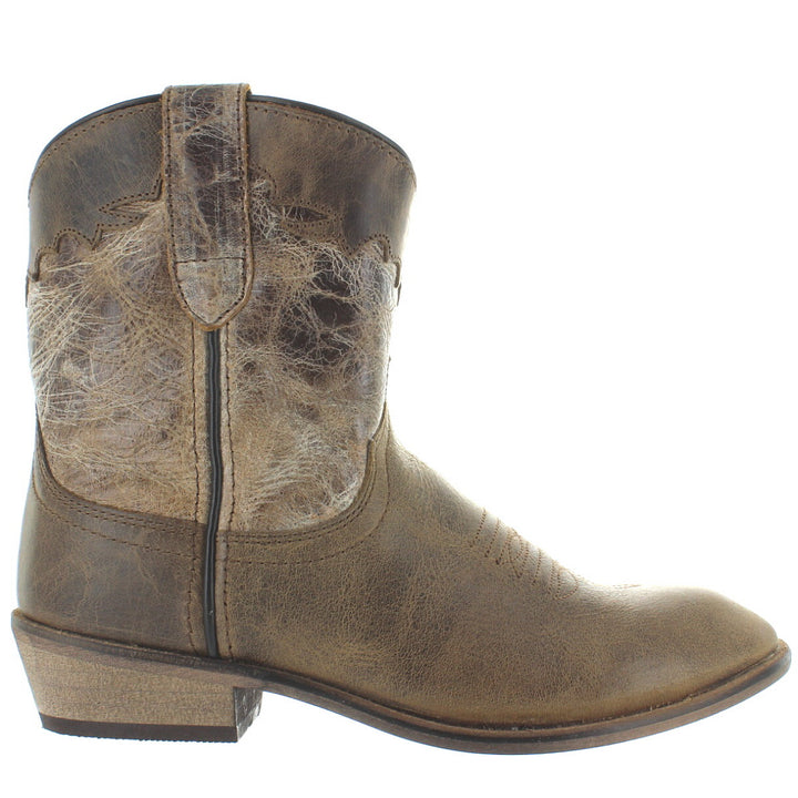 Dingo Aubrey - Brown/Bone Distressed Leather Short Cowboy Boot