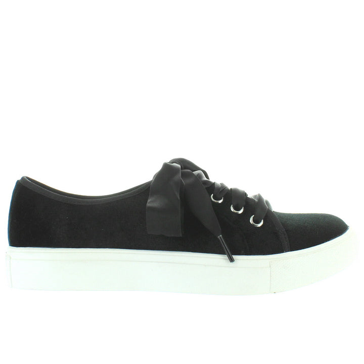 Dirty Laundry Fillmore - Black Velvet Ribbon Tie Platform Sneaker