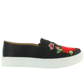 Dirty Laundry Joon - Black/Multi Satin Embroidered Slip-On Sneaker