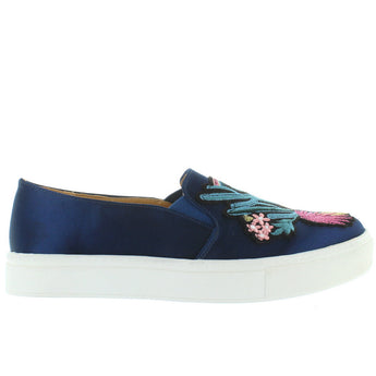 Dirty Laundry Joon - Navy/Multi Satin Embroidered Slip-On Sneaker