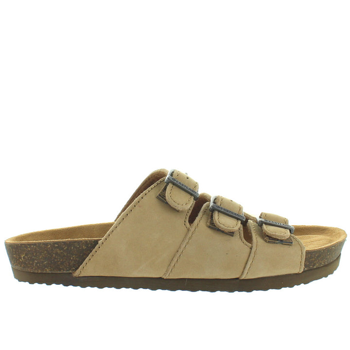Eastland Faye - Sandstone Nubuck Triple Buckle Footbed Slide Sandal