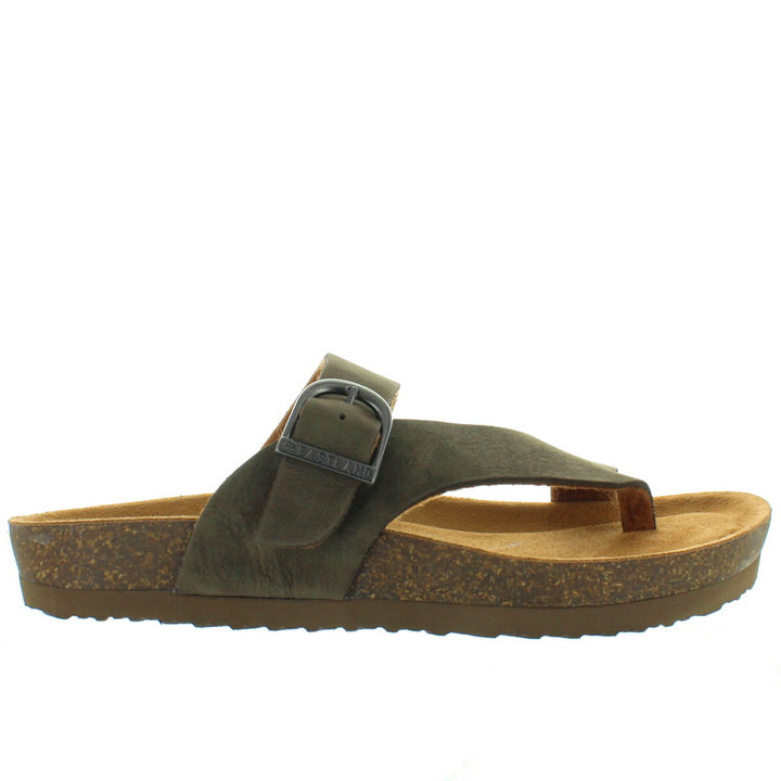 Eastland Shauna - Olive Leather Thong Footbed Slide Sandal