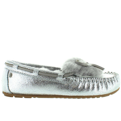 EMU Amity Cuff Crackled - Silver Furry Moc Loafer Slipper